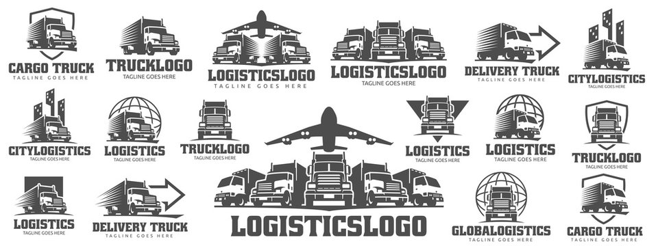 Set of Truck Logo, cargo logo, delivery cargo trucks, Logistic logo pack