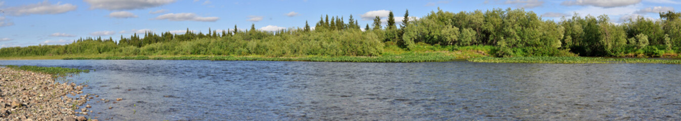 Panoramic river landscape in the polar Urals.