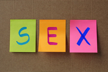 sex text on colorful sticky notes