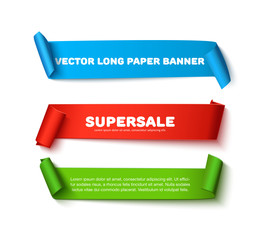 Set of colorful horizontal curved paper ribbon banners with paper rolls and space for text isolated on white background. Realistic vector paper template for sale promo and ad. Colorful  ribbons for