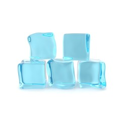 Group of ice cubes isolated on white background. 3d illustration