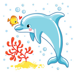 Cute cartoon dolphin. Love Dolphin on a white background. Vector illustration.