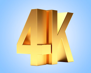 4K golden symbol icon high definition digital television on blue background.