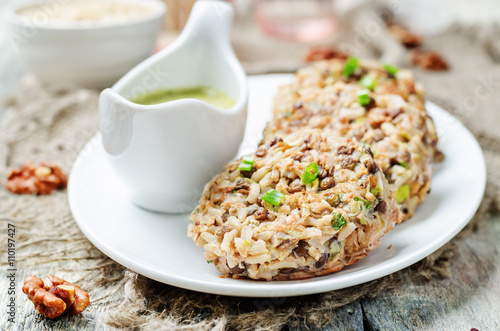 """brown rice lentils walnuts spicy burgers"""" Stock photo and royalty ..."""