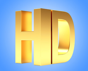 Golden HD TV icon on blue background.