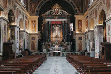 San Lorenzo in Lucina church. Inside view. Rome, Italy.