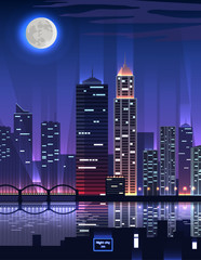 Night City. Megapolis High Skyscrapers