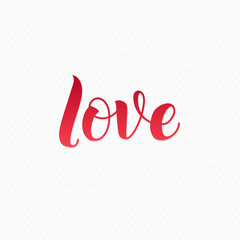 Love Logo. Love Calligraphic Print for Poster. Red Calligraphy Lettering on White Zigzag Background