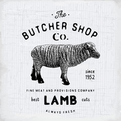 Butcher Shop vintage emblem lamb meat products, butchery Logo template retro style. Vintage Design for Logotype, Label, Badge and brand design. vector illustration