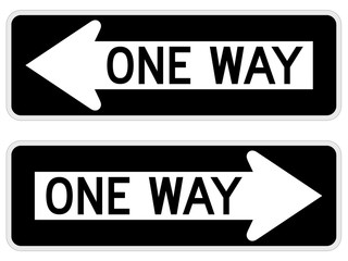 "Vector illustration of a ""one way"" road/street sign."