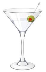 Vector illustration of a martini with an olive garnish.