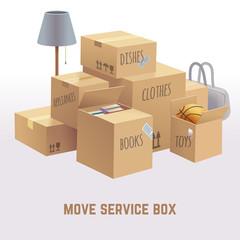Move service box, package, cargo vector concept