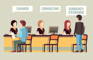 Bank interior with cashier, consulting, currency exchange. Banking vector concept