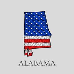 State Alabama - vector illustration.