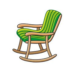 Green rocking chair.