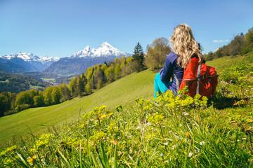 Wall Mural - Wanderung Maria Gern Berchtesgadener Alpen mit Blick auf Watzmann