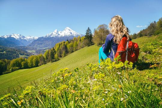 Wanderung Maria Gern Berchtesgadener Alpen mit Blick auf Watzmann