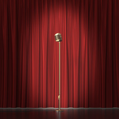 Retro gold microphone on red cloth background. 3d illustration