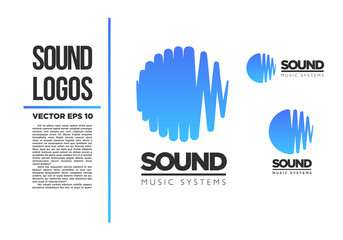 Sound Music logo vector logotype wave abstract