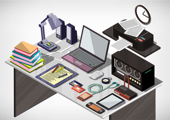 illustration of info graphic interior office concept in isometric graphic