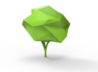 3d illustration of tree. simple to use. low poly style. on white background isolated with shadow. icon for game or web. green colors. eco nature