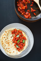 Omelet with oven roasted cherry tomatoes
