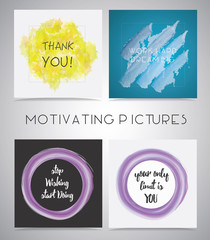 Set of Motivating pictures isolated on gray background