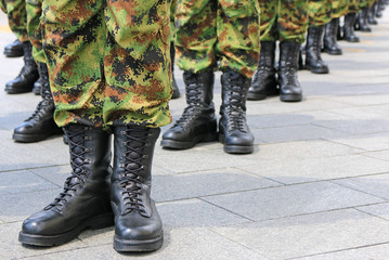 Military, Soldiers standing in line