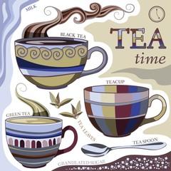 Tea time. Vector illustration with cups of aromatic tea, tea spoon, tea leaves, milk and sugar