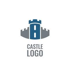 Castle, fortress vector logo. Tower architecture icon.