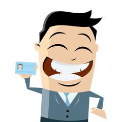 geschäftsmann mit ausweis oder visitenkarte