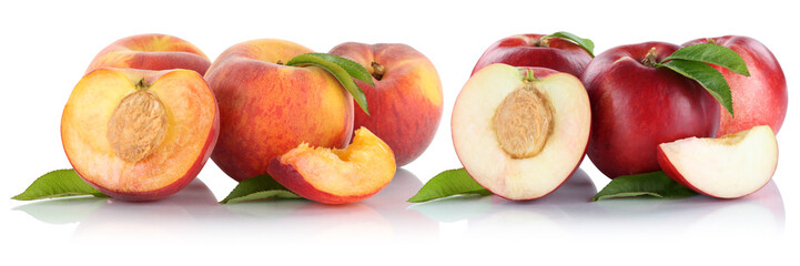Pfirsich Nektarine Pfirsiche Nektarinen Frucht Früchte geschnit