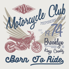 T-shirt typography design, motorcycle vector, NYC printing graphics, typographic vector illustration, New York riders graphic design for label or t-shirt print, Badge, Applique