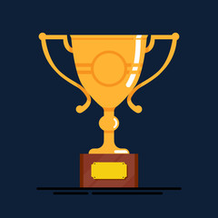 Gold cup. Trophy winner isolated on blue background.