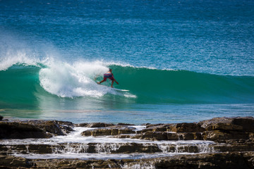Surfers enjoy the good waves in northern Nicaragua