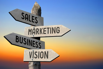 Sale, marketing, business, vision signpost