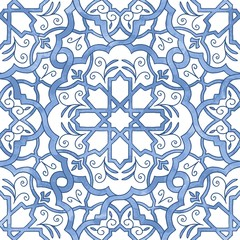 Hand drawn seamless line art pattern filled with blue watercolor