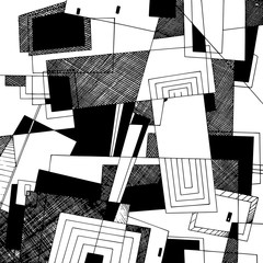 Abstract geometric background, monochrome ink drawing