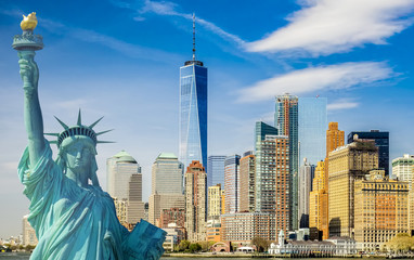 new york cityscape, tourism concept photograph statue of liberty, lower manhattan skyline Wall mural