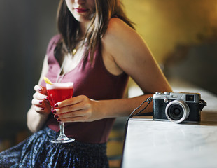 Woman Drinking Cocktail Rest Relaxation Concept