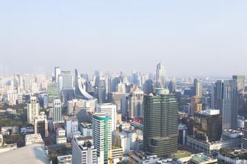 Cityscape of many modern buildings at Ploenchit of Bangkok,Thailand