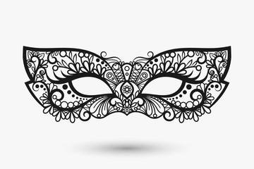Beautiful lace mask. Mardi Gras mask icon. Vector llustration