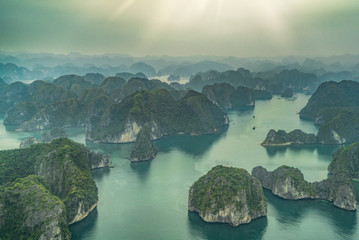 Ha Long Bay scenic view by Plane, Hanoi, Vietnam