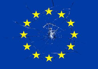 brexit, broken glass effect on european flag, schengen eurozone crisis