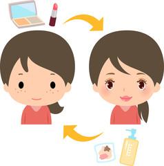 化粧前と化粧後でギャップがある若い女性