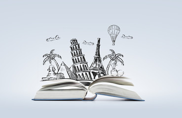 open book with landmarks drawing