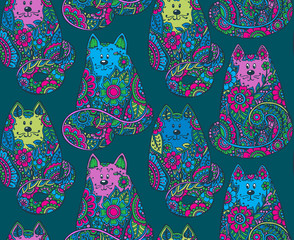 Seamless pattern with hand drawn colorful cats