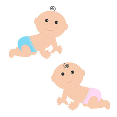 Cute baby boy and girl crawling in pink blue diaper icon set. Isolated. White background. Baby shower. Cartoon character. Flat design.