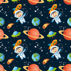 Childish seamless space pattern with astronaut, Earth, saturn, UFO, rockets and stars