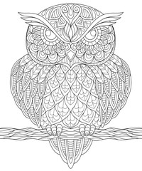Owl. Adult anti-stress coloring page. Black and white hand drawn illustration for coloring book